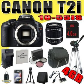 Canon EOS Rebel T2i 18 MP CMOS APS-C Digital SLR Camera w/ EF-S 18-55mm f/3.5-5.6 IS Lens DavisMAX LPE8 Battery/Charger Filter Kit Tripod 4GB Bundle