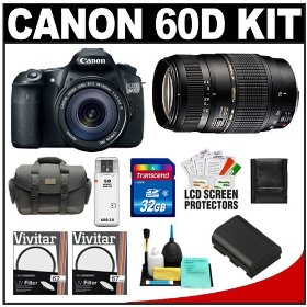 Canon EOS 60D Digital SLR Camera Body with EF-S 18-135mm IS Lens & Tamron 70-300mm Di Lens + 32GB Card + Battery + Case + Accessory Kit