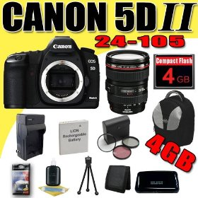 Canon EOS 5D Mark II 21.1MP Digital SLR Camera w/ EF 24-105mm f/4 L IS USM Lens DavisMAX LPE6 Battery/Charger Filter Kit 4GB deluxe BackPack Bundle