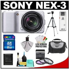 Sony Alpha NEX-3 Digital Camera Body & E 18-55mm OSS Compact Interchangeable Lens (Silver) with 16GB Card + Battery + Case + Tripod + Accessory Kit