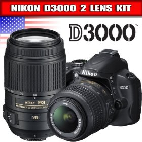 Nikon D3000 10.2MP Digital SLR Camera with 18-55mm f/3.5-5.6G AF-S DX VR Nikkor Zoom Lens + Nikon 55-300mm f/4.5-5.6G ED VR AF-S DX NIKKOR Lens for Nikon Digital SLR