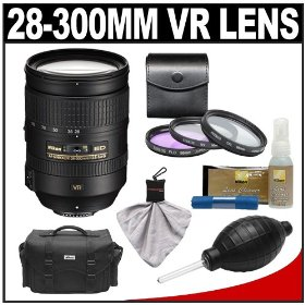 Nikon 28-300mm f/3.5-5.6 G VR AF-S ED Zoom-Nikkor Lens with 3-Piece Filter Set + Case + Cleaning Accessory Kit for D3s, D3x, D3, D7000, D300s, D90, D5000, D3100, D3000 Digital SLR Cameras