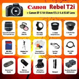 Canon EOS Rebel T2i (550D) Digital SLR + 18-55mm Lens + 3.5x Telephoto Lens + 0.40 Fish-Eye Lens + Filter Kit + 8GB SD + Card Reader + 2 Extra Batteries + Case + Mini HDMI Cable + Tripod + Monopod + Starter Kit + MORE!