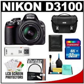 Nikon D3100 Digital SLR Camera & 18-55mm VR Lens with 32GB Card + Filter + Case + Accessory Kit