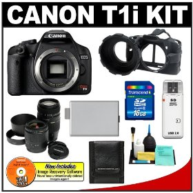 Canon EOS Rebel T1i 15.1MP Digital SLR Camera (Black) w/ Tamron 28-80 & 70-300mm Zoom Lens with 16GB SD Card + LP-E5 + Camera Armor + Accessory Kit