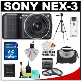 Sony Alpha NEX-3 Digital Camera Body & E 16mm f/2.8 Compact Interchangeable Lens (Black) with 16GB Card + Battery + Case + Tripod + Accessory Kit