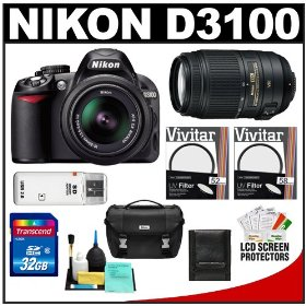 Nikon D3100 Digital SLR Camera & 18-55mm VR + 55-300mm VR Lens + 32GB Card + Filters + Case + Accessory Kit
