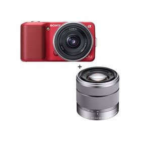Sony (alpha) NEX-3 Digital Camera Kit - Red - with 16mm F2.8 E-mount Lens, & Sony 18-55mm F3.5-5.6 E-mount Lens
