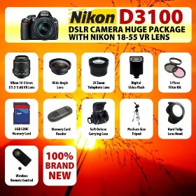 The Nikon D3100 SLR Digital Camera with Nikon 18-55m f3.5-5.6G VR Lens HUGE PACKAGE including 8GB SDHC Memory Card + Card Reader + Wide Angle Lens + 2x Telephoto Lens + Filter Kit + Digital Flash + Case + Tripod + Lens Hood and MORE!