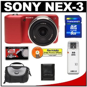 Sony Alpha NEX-3 Digital Camera Body & E 16mm f/2.8 Compact Interchangeable Lens (Red) with 8GB Card + Battery + Case + Accessory Kit