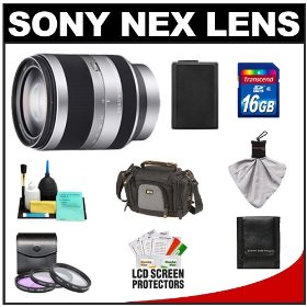 Sony Alpha NEX E-Mount E 18-200mm f/3.5-6.3 OSS Zoom Lens with 16GB Card + NP-FW50 Battery + Case + 3 UV/FLD/CPL Filters + Accessory Kit for NEX-3 & NEX-5 Digital Cameras