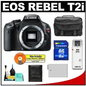 Canon EOS Rebel T2i Digital SLR Camera + 8GB Card + Battery + Case + Accessory Kit