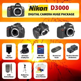 Nikon D3000 Digital SLR Camera Body + 2 Extended Life Batteries + Battery Charger + 8 GB Memory Card + Card Reader + Tripod + Carrying Case + Starter Kit + Digital Flash and more!!