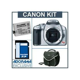 Canon EOS Digital Rebel XSi SLR Camera kit, Silver Black with 4GB SD Memory Card, Spare LP-E5 Lithium-Ion Rechargeable Battery, Slinger Camera Bag