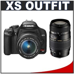 Canon Digital Rebel XS 10.1MP Digital SLR Camera (Black) + Canon EF-S 18-55mm IS Lens + Tamron 70-300mm Di LD Macro Lens for Canon EOS