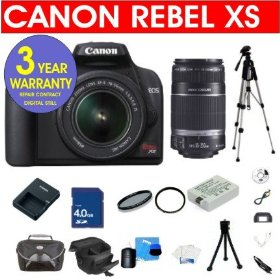 Canon EOS Rebel XS 10.1 Digital SLR Camera with EF-S 18-55mm IS & EF-S 55-250mm f/4-5.6 IS Lens + 4 GB Memory Card + 6 Piece Accessory Kit + Camera Holster Case + Multi-Coated Glass UV Filter + 3 Year Warranty Repair Contract