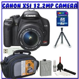 Canon Digital Rebel XSi 12MP Digital SLR Camera w/ EF-S 18-55mm IS Lens + Spare LP-E5 Li-ion Battery + 8GB + Standard Shooters K#1