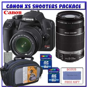 Canon EOS Rebel XS (a.k.a. 1000D) SLR Digital Camera w/ 18-55mm IS Lens + Canon 55-250mm IS Lens + Two (2) Transcend 8GB Memory Cards + Shooters Package