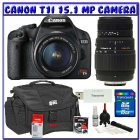 Canon EOS Rebel T1i 15.1 MP Digital SLR w/ Canon EF-S 18-55mm IS Lens & Sigma 70-300mm Lens + Canon Battery + Canon Bag + 16GB + Deluxe Accessory Package K#5
