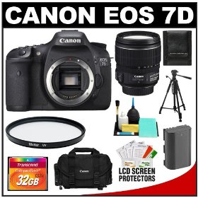Canon EOS 7D 18.0 MP Digital SLR Camera Body (Outfit Box) & EF-S 15-85mm IS USM Lens with 32GB Card + Battery + Case + Tripod + UV Filter + Cleaning Accessory Kit