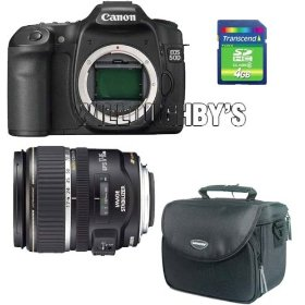 Canon EOS 50D 15.1MP Digital SLR Camera W/ Canon EF-S 17-85mm f/4-5.6 Image Stabilized USM SLR Lens W/ Transcend TS4GSDHC6 4GB SDHC card (SD 2.0 SPD Class 6) W/ Samsonite Digital Camera Gadget Bag (Black) W/ Clean & Scratch Free Kit