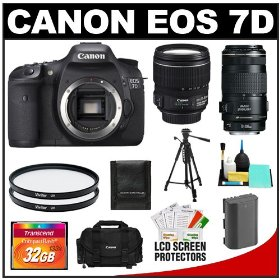 Canon EOS 7D 18.0 MP Digital SLR Camera Body (Outfit Box) & EF-S 15-85mm and EF 70-300mm IS USM Lenses with 32GB Card + Battery + Case + Tripod + UV Filters + Cleaning Accessory Kit