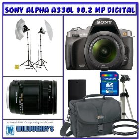 Professional Photographers Portrait Pro Series Package + Sony Alpha A380L 14.2 MP Digital SLR Camera + Sigma 18-250mm f/3.5-6.3 DC OS HSM IF Lens + Willoughby's 16GB SDHC Photo Bundle