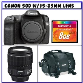 Canon EOS 50D 15.1MP SLR Digital Camera [OutFit] w/ Canon EF-S 15-85mm f/3.5-5.6 IS USM Lens + Spare Lithium-Ion Battery Pack + 8GB + Canon Gadget Bag + Digital Photo Professional K#2