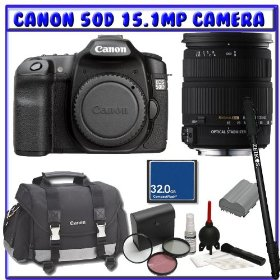 Canon 50D 15.1MP Digital SLR (Body Only) + Sigma AF 18-200mm DC OS Lens + Canon Gadget SLR Bag + Spare Lithium-Ion Battery + Starter Photographer Package