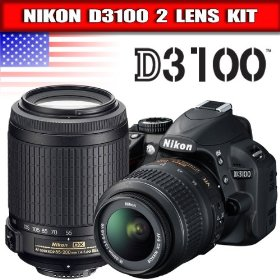 Nikon D3100 14.2MP Digital SLR Camera with 18-55mm f/3.5-5.6G AF-S DX VR Nikkor Zoom Lens + AF-S DX VR Zoom-NIKKOR 55-200mm f/4-5.6G IF-ED