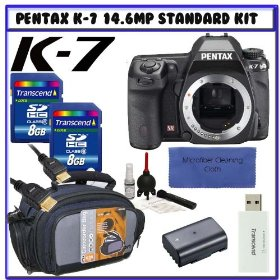 Pentax K-7 14.6 MP Digital SLR with Shake Reduction and 720p HD Video (Body Only) 17811 + Pentax 2-Year Extended Warranty for K7 D-SLR Cameras + Two (2) Transcend 8GB SDHC + Willoughby's Travelers Package # 2