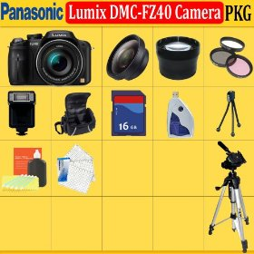 Panasonic Lumix Dmc-fz40 Digital Camera (Includes Manufacturer's Supplied Accessories) + Huge Accessories Package Including Wide Angle Macro Lens + 2x Telephoto + 3 Pc Filter Kit + 16gb Sdhc Memory Card + Soft Carrying Case + Tripod & Much More !!