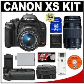 Canon Digital Rebel XS Digital SLR Camera Body (Black) & EF-S 18-55mm IS Lens + EF 75-300mm III Lens + BG-E5 Battery Grip + 8GB SD Card + Case + Cameta Bonus Accessory Kit