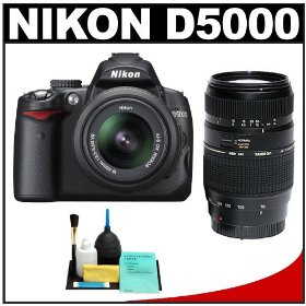 Nikon D5000 Digital SLR Camera w/ 18-55mm VR Lens + Tamron 70-300mm Zoom Lens + Cleaning Kit