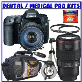 Canon EOS 50D SLR Digital Camera Kit w/ Canon 28-135mm Lens + Canon EF 100mm f/2.8L IS USM Lens + Canon MR-14EX Macro Ring Lite + 8GB SDHC + Monopod + Dental/Medical Pro Package