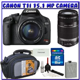 Canon EOS Rebel T1i 15.1 MP Digital SLR Camera (Black) + Canon EF-S 18-55mm f/3.5-5.6 IS Zoom Lens [Outfit] + Canon EF-S 55-250mm f/4.0-5.6 IS Zoom Lens + 16GB + Advanced Shooters Package K# 1