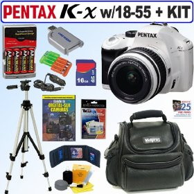 Pentax K-x 12.4 MP Digital SLR Camera (White) with 18-55mm f/3.5-5.6 AL Lens (White) + 16GB Deluxe Accessory Kit