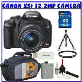 Canon EOS Rebel XSi (a.k.a. 450D) SLR Digital Camera Kit w/ 18-55mm IS Lens + Spare LP-E5 Li-ion Battery + 16GB + Standard Shooters K#2