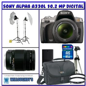 Professional Photographers Portrait Pro Series Package + Sony Alpha A330L 10.2 MP Digital SLR Camera + Sigma 18-250mm f/3.5-6.3 DC OS HSM IF Lens + Willoughby's 16GB SDHC Photo Bundle