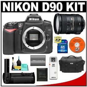Nikon D90 Digital SLR Camera Body + Nikon 18-200mm VR II Lens + Nikon MB-D80 Battery Grip + 16GB Card + Nikon EN-EL3e Battery + Case + Accessory Kit