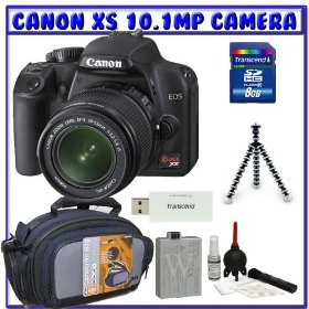 Canon EOS Rebel XS (a.k.a. 1000D) SLR Digital Camera Kit w/ 18-55mm IS Lens + Spare LP-E5 Battery + 8GB + Beginners Essentials K#1