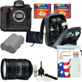 Nikon D300 SLR Digital Camera [Body Only] + Nikon 18-200mm AF-S DX VR II Lens + Nikon Multi-Grip Power Battery Pack + Two (2) 4GB CF + Extra Nikon Battery + DSLR Camera Bag + 3-Year Warranty + Willoughbys Bonus Pack