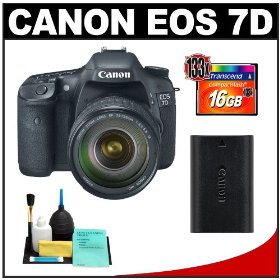 Canon EOS 7D Digital SLR Camera with EF 28-135mm IS USM Zoom Lens Outfit + 16GB Card + Canon LP-E6 Battery + Cleaning Kit