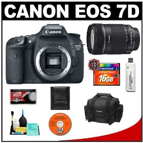 Canon EOS 7D Digital SLR Camera Body + Canon 18-135mm IS Zoom Lens + 16GB Card + Canon 2400 DSLR Gadget Bag Case + Accessory Kit