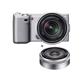 Sony (alpha) NEX-5 Digital Camera Kit - Silver - with 18-55mm F3.5-5.6 E-mount Lens & Sony 16mm F/2.8 E-mount Lens