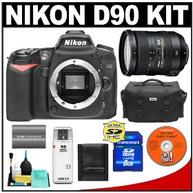 Nikon D90 Digital SLR Camera Body + Nikon 18-200mm VR II Lens + 8GB Card + Nikon EN-EL3e Battery + Case + Accessory Kit