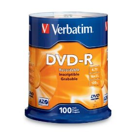 Verbatim 97460 4.7 GB 1x-16x 120 Minute Branded Recordable Disc DVD-R, 100-Disc