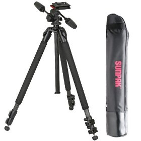 Sunpak 623PX 66-inch Pro Carbon Fiber Tripod - with 3-Way Pan Head & Quick-Release Plate plus Carry Case - for Digital SLR Cameras & Video Camcorders