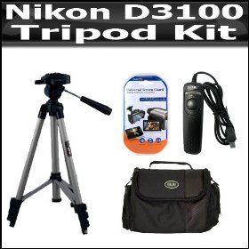 Tripod Kit For Nikon D3100 14.2MP Digital SLR Camera Includes 52 Inch Pro Tripod + Remote Shutter Release + Deluxe Carrying Case + 3 Pack LCD Screen Protectors