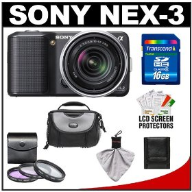 Sony Alpha NEX-3 Digital Camera Body & E 18-55mm OSS Compact Interchangeable Lens (Black) with 16GB Card + Battery + Case + Accessory Kit